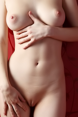 Red background, passionate nude girl