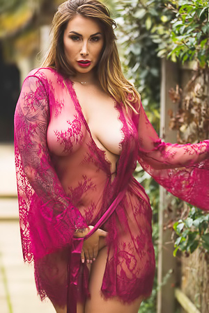 Paige Turnah wants to spend some time outside but doesn't want to wear much. Perfect time for her lace robe which opens up and r